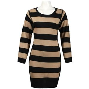Striped Dress(L53190/CAMEL BLACK)